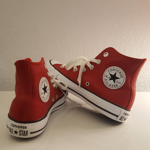 30255cb79ac4 Converse Shoes - Red Leather Converse High Tops